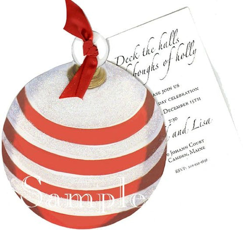 Striped Ornament w/ Wide Red Ribbon Personalized Holiday Card/ Invitation (Set of 50)