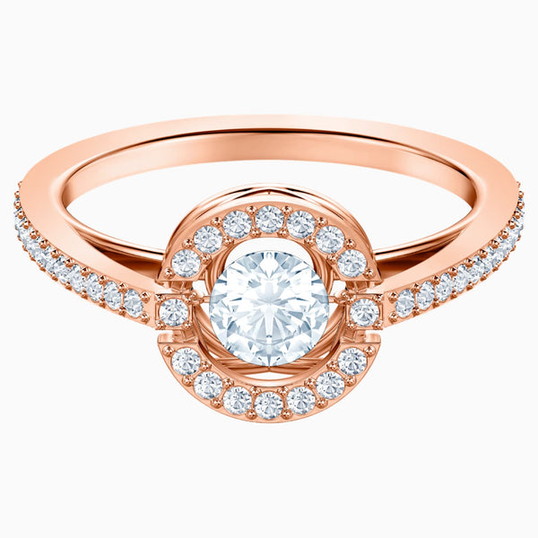 Swarovski Sparkling Dance Round Ring; White; Rose-Gold Tone Plated Dalmazio Design