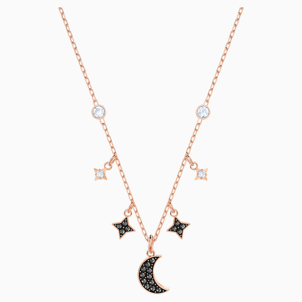 Swarovski Symbolic Moon Necklace; Black; Rose-Gold Tone Plated Dalmazio Design