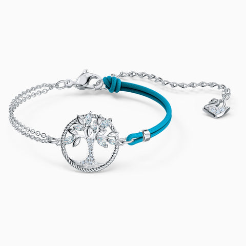Swarovski Symbolic Tree Of Life Bracelet; Blue; Rhodium Plated Dalmazio Design