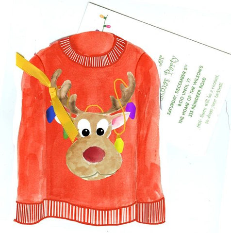 Tacky Christmas Sweater w/ Gold Ribbon Personalized Holiday Card/ Invitation (Set of 50)