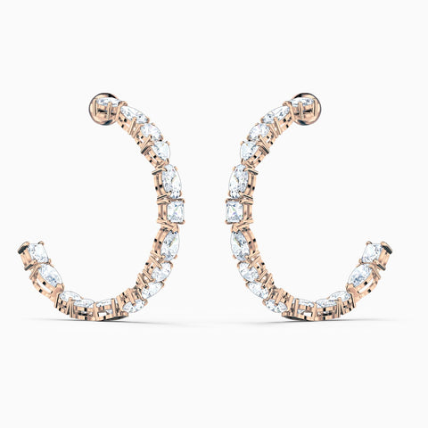 Dalmazio Design - Swarovski Tennis Deluxe Mixed Hoop Pierced Earrings, White, Rose-Gold Tone Plated