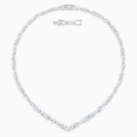 Dalmazio Design - Swarovski Tennis Deluxe Mixed V Necklace, White, Rhodium Plated
