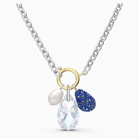 Dalmazio Design - Swarovski The Elements Necklace, Blue, Mixed Metal Finish