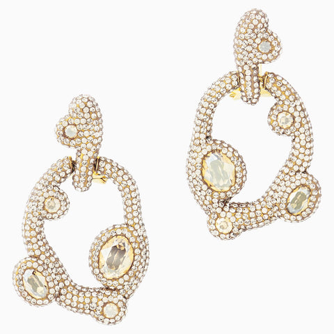 Dalmazio Design - Swarovski Tigris Pierced Earrings, White, Gold-Tone Plated