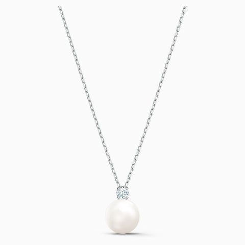 Dalmazio Design - Swarovski Treasure Pearl Necklace, White, Rhodium Plated
