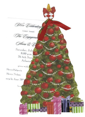 Christmas Tree 12 w/ Wide Red Ribbon Personalized Holiday Card/ Invitation (Set of 50)