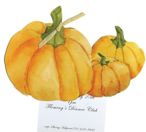 Trio of Pumpkins w/ Green Raffia Tag Personalized Holiday Card/ Invitation (Set of 50)
