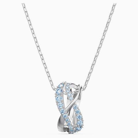 Dalmazio Design - Swarovski Twist Rows Pendant, Blue, Rhodium Plated