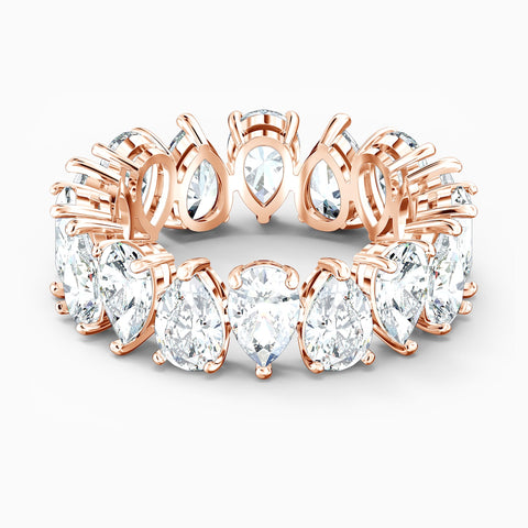 Dalmazio Design - Swarovski Vittore Pear Ring, White, Rose-Gold Tone Plated
