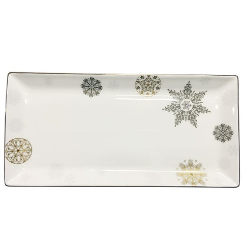 "Prouna Winter Crystal 13"" Sandwich/ Cake Tray  Platinum Rim Dalmazio Design"