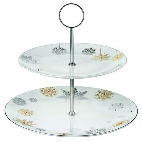 Prouna Winter Crystal 2-Tier Cookie / Chocolate Stand  Platinum Rim Dalmazio Design