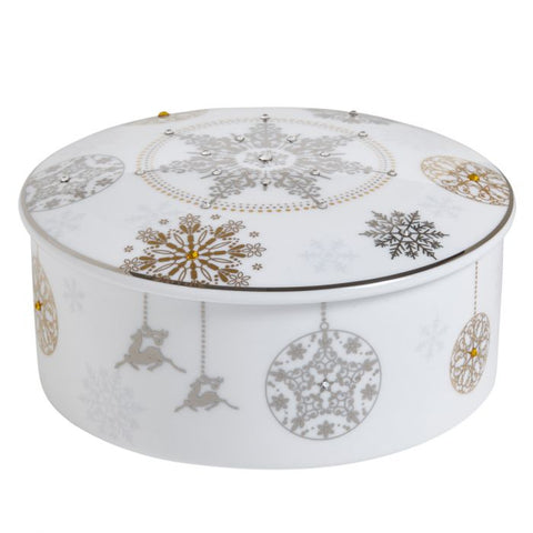 Winter Crystal Jewelry Box, Platinum Rim