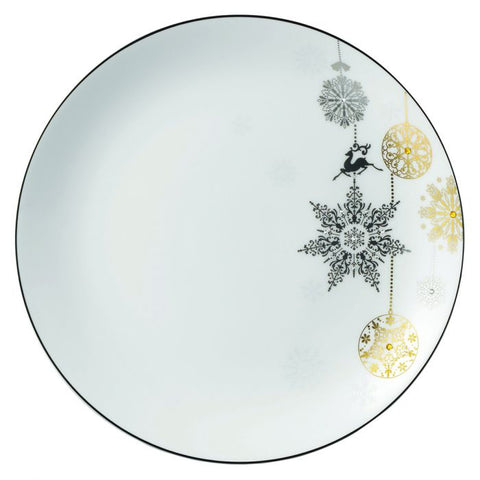 Winter Crystal Salad / Dessert Plate, Platinum Rim