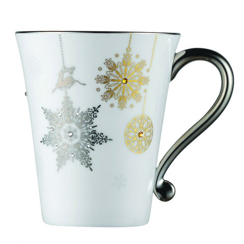 Winter Crystal Mug / Coffee Cup, Platinum Rim