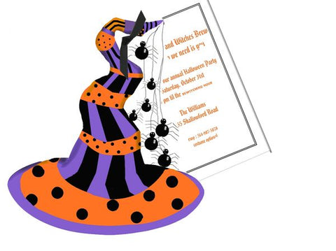Witches Hat with Spiders w/ Glitter Personalized Holiday Card/ Invitation (Set of 50)