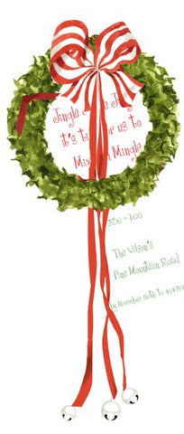 Wreath with Bells w/ Glitter Personalized Holiday Card/ Invitation (Set of 50)