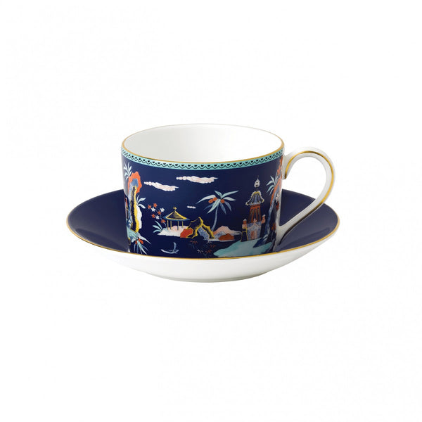 Wedgwood Wonderlust Blue Pagoda Teacup & Saucer Set Dalmazio Design