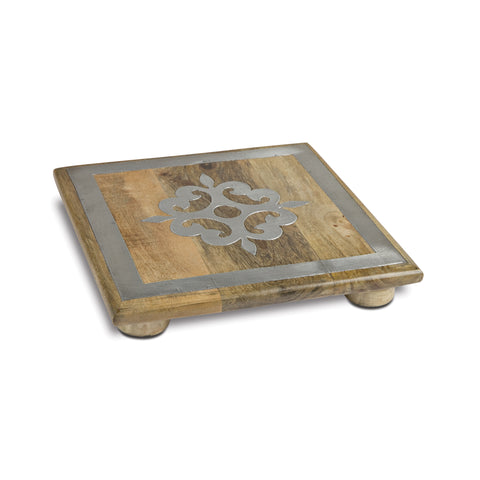 "10"" Wood Trivet With Metal"