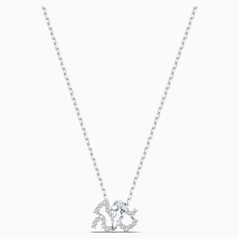 Dalmazio Design - Swarovski Zodiac Ii Pendant, Aquarius, White, Mixed Metal Finish