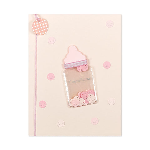 Pink Baby Bottle New Baby Girl Card