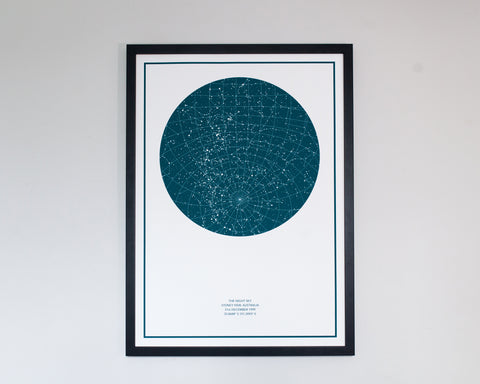 Aquamarine with White Background in a Black Frame