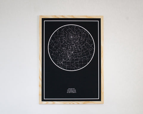 Midnight Blue Print in a Natural Wood Frame
