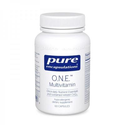 o.n.e. multivitamin by pure encapsulations. certified lab tested and shipped on ice for no additional charge through noble supplements.