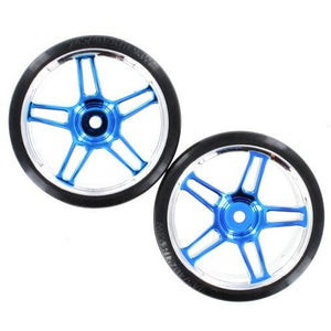 07003b Chrome & blue 5 split spoke wheels w/ drift tires (2pcs)(plastic)
