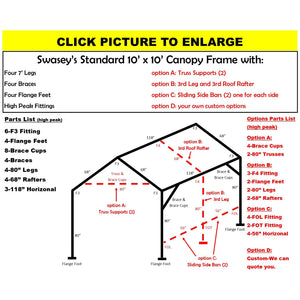 "10 x 10 x 1 3/8"" HD Canopy Frame with four 7' legs, includes flange feet and braces"