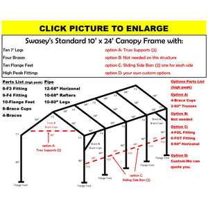 "10 x 24 x 1 3/8"" HD Canopy Frame with ten 7' legs, includes flange feet and braces"