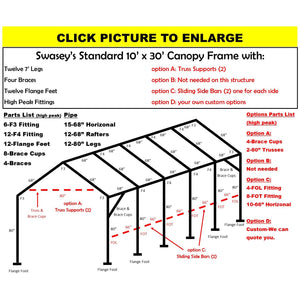 "10 x 30 x 1 3/8"" HD Canopy Frame with tweleve 7' legs, includes flange feet and braces"
