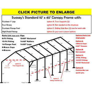 "10 x 40 x 1 3/8"" HD Canopy Frame with fourteen 7' legs, includes flange feet and braces"