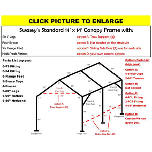 "14 x 14 x 1 3/8"" HD Canopy Frame with six 7' legs, includes flange feet and braces"