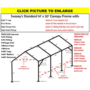 "14 x 20 x 1 3/8"" HD Canopy Frame with eight 7' legs, includes flange feet and braces"