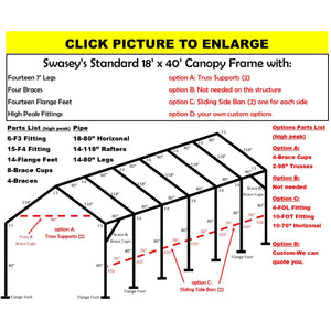 "18 x 40 x 1 5/8"" HD Canopy Frame with fourteen 7' legs, includes flange feet and braces"