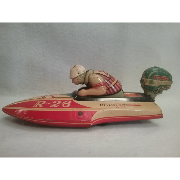 1950s River Star Race Boat Toy