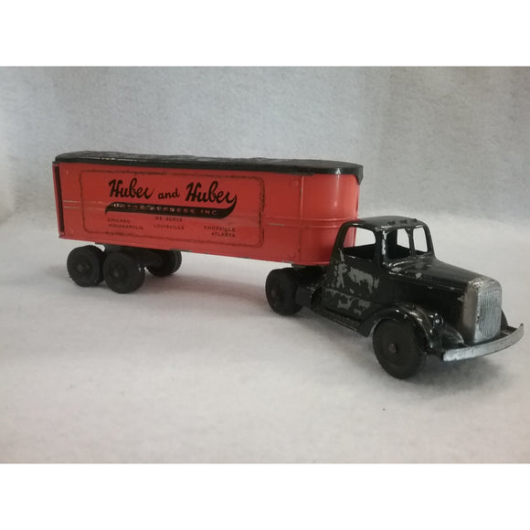 Tootsietoy Semi Truck With Huber and Huber Trailer