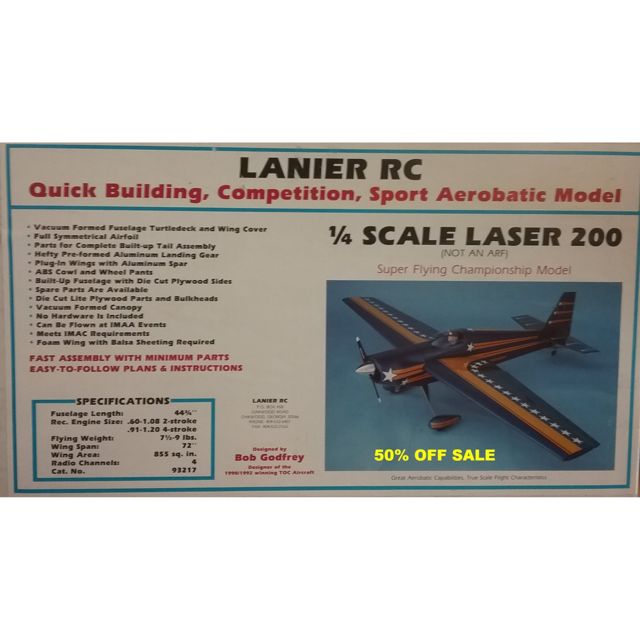 50% OFF SALE !!!-1/4 Scale Lanier Laser 200 RC Plane Kit