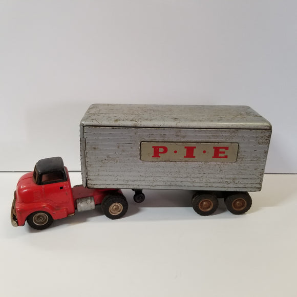 Vintage SSS Japan Tin Friction 1953 GMC P.I.E. Semi Truck