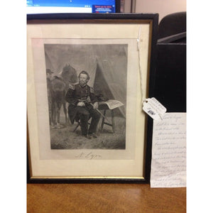 Signed Framed Lithograph of Civil War Union General Lyon - Swasey's Hardware & Hobbies