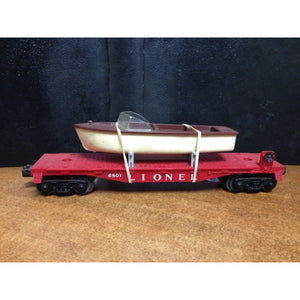 Lionel 6801 Flat Car with White Hull and Brown Deck Boat - Swasey's Hardware & Hobbies