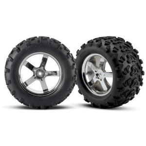 "4973R Tires & Hurricane Chrome Wheels(2)T-Maxx 3.8"",Revo"