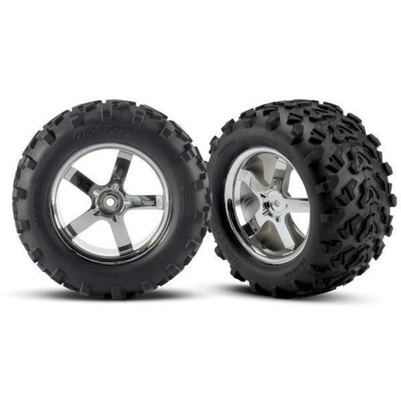 4973R Tires & Hurricane Chrome Wheels(2)T-Maxx 3.8