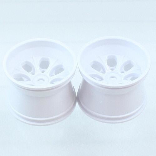 62010W White 7 Spoke Wheels, 2pcs