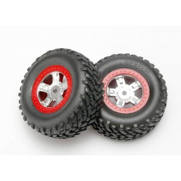 7073A Chrome Wheel Racingtire Red Beadlock 1