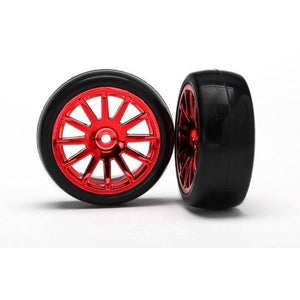 7573X Slick Tires & Spoke Red Wheels Assm Glued 12