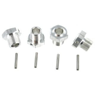BS810-007 Aluminum 17mm Wheel Hex w/ Pin (4pcs ea.)(Silver)