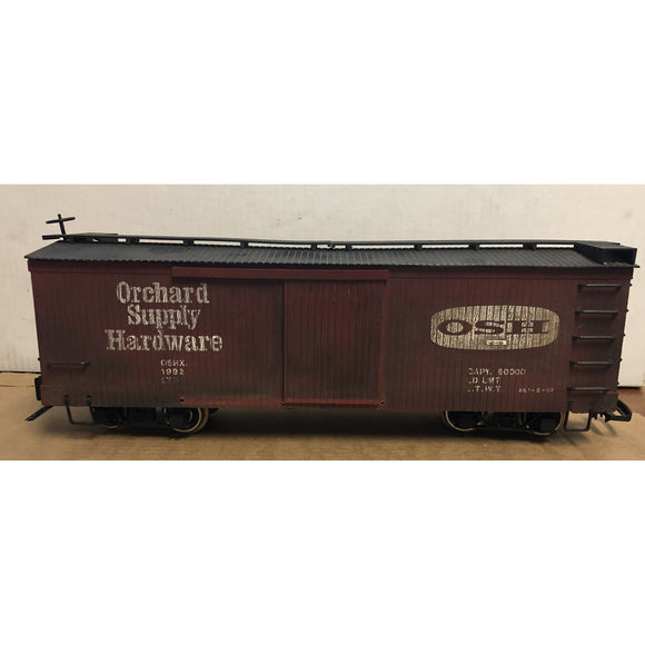 G Scale Bachmann Orchard Supply Hardware 1992 Boxcar with two types of couplers