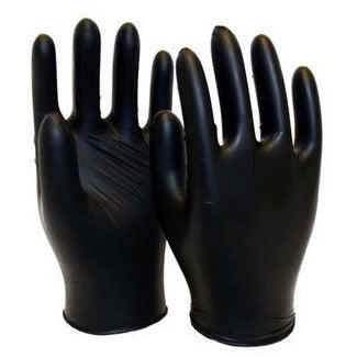BLACK NITRILE DISPOSABLE, POWDERED FREE, TEXTURED-CHOOSE YOUR SIZE